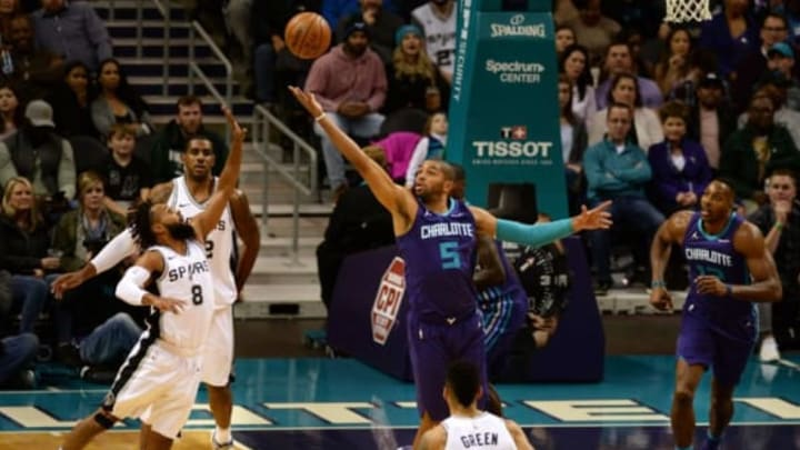 CHARLOTTE, USA – NOVEMBER 25: Nicolas Batum (5) of Charlotte Hornets jumps for the ball during the NBA match between San Antonio Spurs vs Charlotte Hornets at the Spectrum arena in Charlotte, NC, United States on November 25, 2017. (Photo by Peter Zay/Anadolu Agency/Getty Images)