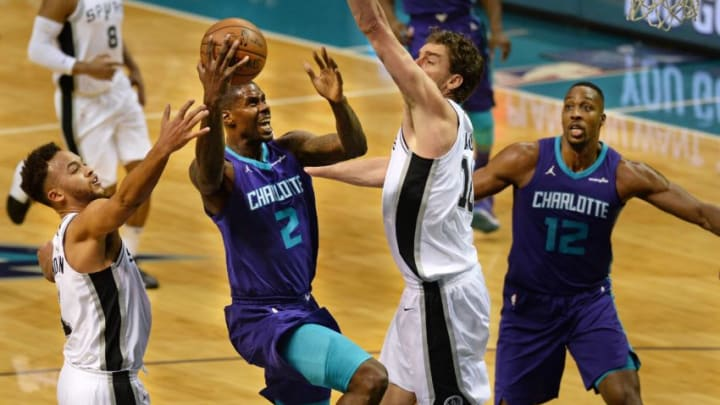 CHARLOTTE, USA - NOVEMBER 25: Marvin Williams (2) of Charlotte Hornets jumps to score during the NBA match between San Antonio Spurs vs Charlotte Hornets at the Spectrum arena in Charlotte, NC, United States on November 25, 2017. (Photo by Peter Zay/Anadolu Agency/Getty Images)