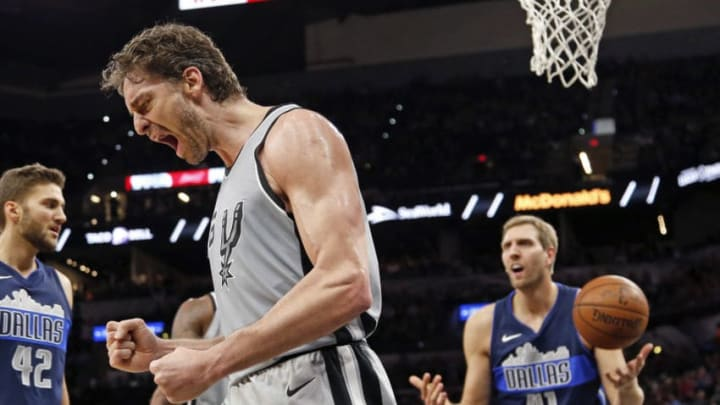 SAN ANTONIO,TX - NOVEMBER 27: Pau Gasol #16 of the San Antonio Spurs reacts after a basket and a foul by Dirk Nowitzki #41 of the Dallas Mavericks at AT&T Center on November 27, 2017 in San Antonio, Texas. NOTE TO USER: User expressly acknowledges and agrees that , by downloading and or using this photograph, User is consenting to the terms and conditions of the Getty Images License Agreement. (Photo by Ronald Cortes/Getty Images)