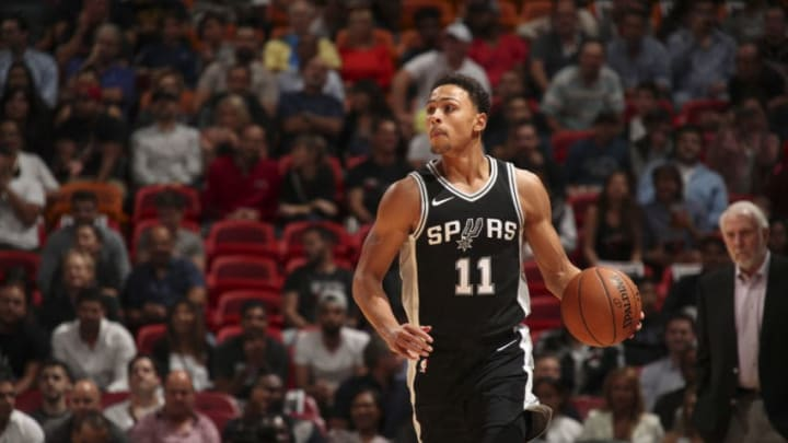 MIAMI, FL - OCTOBER 25: Bryn Forbes #11 of the San Antonio Spurs handles the ball against the Miami Heat on October 25, 2017 at AmericanAirlines Arena in Miami, Florida. NOTE TO USER: User expressly acknowledges and agrees that, by downloading and or using this Photograph, user is consenting to the terms and conditions of the Getty Images License Agreement. Mandatory Copyright Notice: Copyright 2017 NBAE (Photo by Issac Baldizon/NBAE via Getty Images)