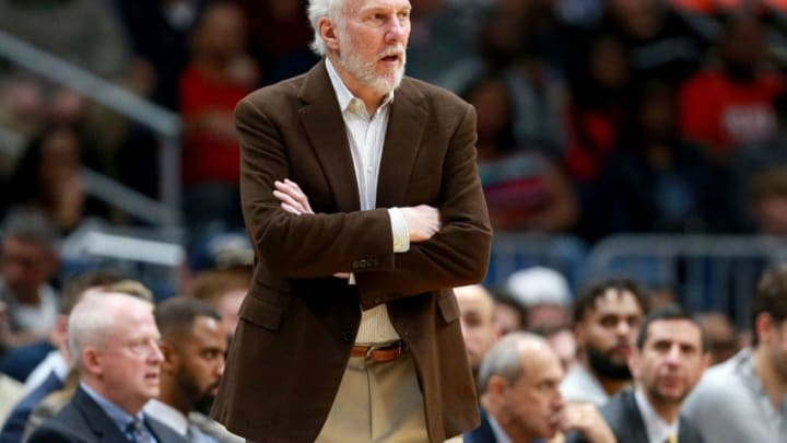 NEW ORLEANS, LA - NOVEMBER 22: Head coach Gregg Popovich of the San Antonio Spurs looks on as his team takes on the New Orleans Pelicans during the second half of a NBA game at the Smoothie King Center on November 22, 2017 in New Orleans, Louisiana. NOTE TO USER: User expressly acknowledges and agrees that, by downloading and or using this photograph, User is consenting to the terms and conditions of the Getty Images License Agreement. (Photo by Sean Gardner/Getty Images)