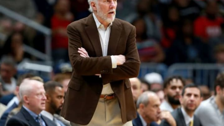 NEW ORLEANS, LA – NOVEMBER 22: Head coach Gregg Popovich of the San Antonio Spurs looks on as his team takes on the New Orleans Pelicans during the second half of a NBA game at the Smoothie King Center on November 22, 2017 in New Orleans, Louisiana. NOTE TO USER: User expressly acknowledges and agrees that, by downloading and or using this photograph, User is consenting to the terms and conditions of the Getty Images License Agreement. (Photo by Sean Gardner/Getty Images)