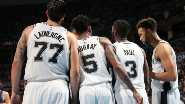 OKLAHOMA CITY, OK- DECEMBER 3: San Antonio Spurs huddle during the game against the Oklahoma City Thunder on December 3, 2017 at Chesapeake Energy Arena in Oklahoma City, Oklahoma. NOTE TO USER: User expressly acknowledges and agrees that, by downloading and or using this photograph, User is consenting to the terms and conditions of the Getty Images License Agreement. Mandatory Copyright Notice: Copyright 2017 NBAE (Photo by Layne Murdoch Jr./NBAE via Getty Images)
