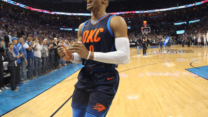 OKLAHOMA CITY, OK- DECEMBER 3: Russell Westbrook #0 of the Oklahoma City Thunder yells and celebrates after the game against the San Antonio Spurs on December 3, 2017 at Chesapeake Energy Arena in Oklahoma City, Oklahoma. NOTE TO USER: User expressly acknowledges and agrees that, by downloading and or using this photograph, User is consenting to the terms and conditions of the Getty Images License Agreement. Mandatory Copyright Notice: Copyright 2017 NBAE (Photo by Layne Murdoch/NBAE via Getty Images)