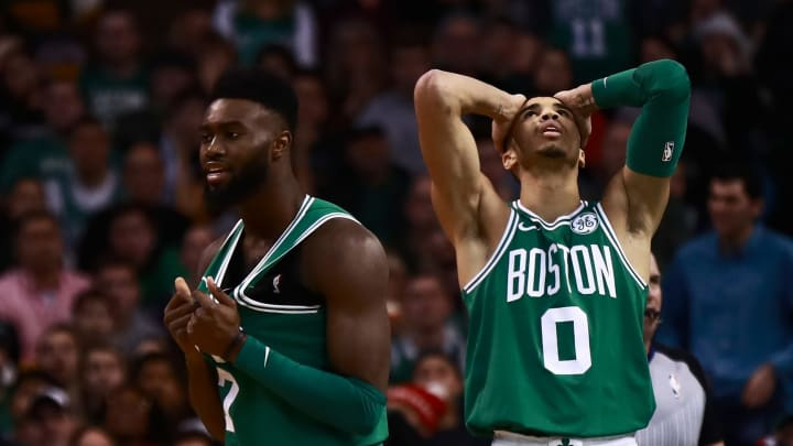 BOSTON, MA – DECEMBER 25: Jayson Tatum #0 and Jaylen Brown #7 of the Boston Celtics react after a call from the official during the fourth quarter of the game against the Washington Wizards at TD Garden on December 25, 2017 in Boston, Massachusetts. NOTE TO USER: User expressly acknowledges and agrees that, by downloading and or using this photograph, User is consenting to the terms and conditions of the Getty Images License Agreement. (Photo by Omar Rawlings/Getty Images)