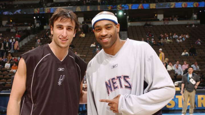 DENVER - FEBRUARY 20: Manu Ginobili of the San Antonio Spurs and Vince Carter of the New Jersey Nets pose for a photograph before the 54th All-Star Game, part of 2005 NBA All-Star Weekend at Pepsi Center on February 20, 2005 in Denver, Colorado. The East defeated the West 125-115. NOTE TO USER: User expressly acknowledges and agrees that, by downloading and/or using this Photograph, user is consenting to the terms and conditions of the Getty Images License Agreement. Mandatory Copyright Notice: Copyright 2005 NBAE (Photo by Andrew D. Bernstein/NBAE via Getty Images)