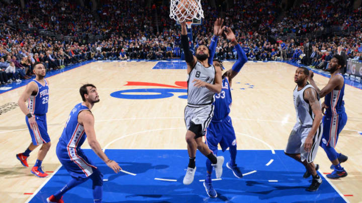 PHILADELPHIA,PA - JANUARY 3 : Patty Mills #8 of the San Antonio Spurs goes up for the layup against the Philadelphia 76ers at Wells Fargo Center on January 3, 2018 in Philadelphia, Pennsylvania NOTE TO USER: User expressly acknowledges and agrees that, by downloading and/or using this Photograph, user is consenting to the terms and conditions of the Getty Images License Agreement. Mandatory Copyright Notice: Copyright 2018 NBAE (Photo by Jesse D. Garrabrant/NBAE via Getty Images)