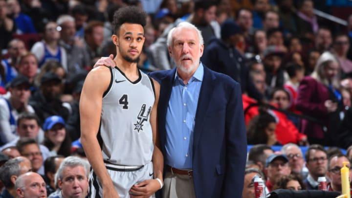 PHILADELPHIA,PA - JANUARY 3 : Head Coach Gregg Popovich of the San Antonio Spurs speaks with Derrick White