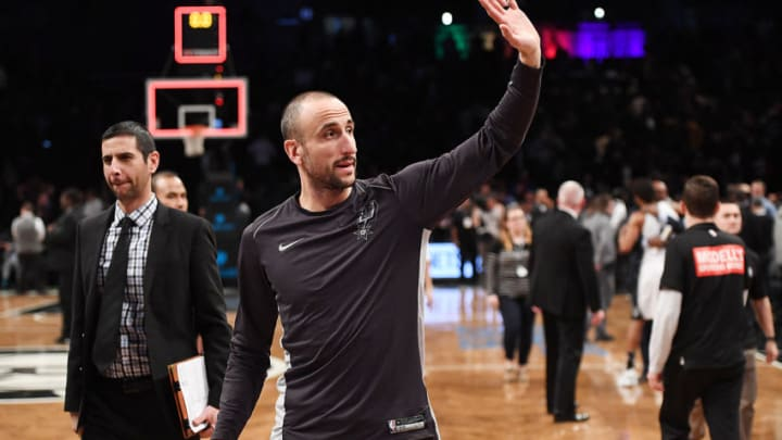 NEW YORK, NY - JANUARY 17: Manu Ginobili #20 of the San Antonio Spurs waves to the fans after the game against the Brooklyn Nets at Barclays Center on January 17, 2018 in Brooklyn, New York. NOTE TO USER: User expressly acknowledges and agrees that, by downloading and or using this photograph, User is consenting to the terms and conditions of the Getty Images License Agreement. (Photo by Matteo Marchi/Getty Images)