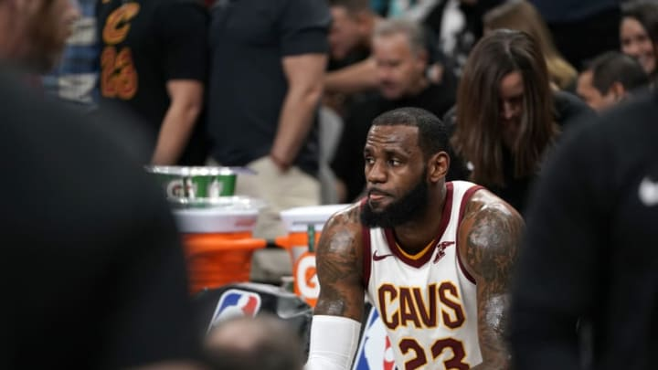 SAN ANTONIO, TX - JANUARY 23: LeBron James #23 of the Cleveland Cavaliers after he scores his 30,000th career point during the game against the San Antonio Spurs on January 23, 2018 at the AT&T Center in San Antonio, Texas. NOTE TO USER: User expressly acknowledges and agrees that, by downloading and/or using this photograph, user is consenting to the terms and conditions of the Getty Images License Agreement. Mandatory Copyright Notice: Copyright 2018 NBAE (Photo by Darren Carroll/NBAE via Getty Images)