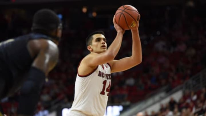 RALEIGH, NC – JANUARY 17: North Carolina State Wolfpack center Omer Yurtseven (14) shoots a free throw during a game between the Pittsburgh Panthers and the North Carolina State Wolfpack on January 17, 2017 at PNC Arena in Raleigh, NC. NC State defeated Pitt 79-74. (Photo by William Howard/Icon Sportswire via Getty Images)