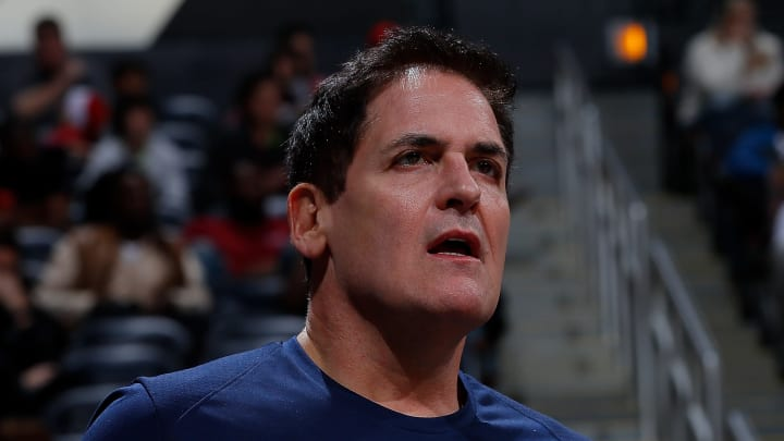 ATLANTA, GA – DECEMBER 23: Mark Cuban, owner of the Dallas Mavericks, reacts during the game against the Atlanta Hawks at Philips Arena on December 23, 2017 in Atlanta, Georgia. NOTE TO USER: User expressly acknowledges and agrees that, by downloading and or using this photograph, User is consenting to the terms and conditions of the Getty Images License Agreement. (Photo by Kevin C. Cox/Getty Images)