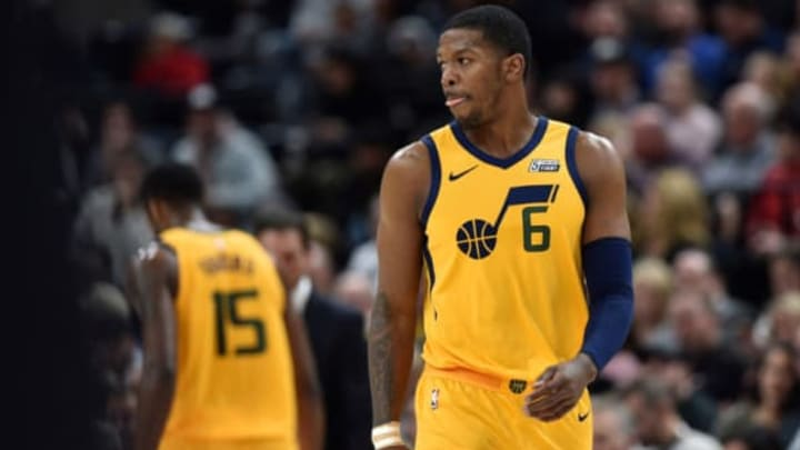 SALT LAKE CITY, UT – JANUARY 15: Joe Johnson #6 of the Utah Jazz looks on in the first half of their game against the Indiana Pacers at Vivint Smart Home Arena on January 15, 2018 in Salt Lake City, Utah. NOTE TO USER: User expressly acknowledges and agrees that, by downloading and or using this photograph, User is consenting to the terms and conditions of the Getty Images License Agreement. (Photo by Gene Sweeney Jr./Getty Images)