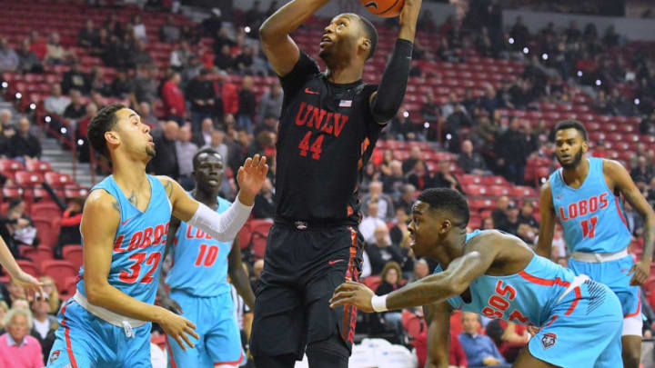 LAS VEGAS, NV - JANUARY 17: Brandon McCoy #44 of the UNLV Rebels shoots against Anthony Mathis #32 of the New Mexico Lobos during their game at the Thomas & Mack Center on January 17, 2018 in Las Vegas, Nevada. (Photo by Sam Wasson/Getty Images)