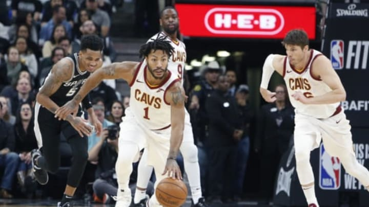SAN ANTONIO,TX – JANUARY 23 : Derrick Rose #1 of the Cleveland Cavaliers moves the ball down court against the San Antonio Spurs at AT&T Center on January 23, 2018 in San Antonio, Texas. NOTE TO USER: User expressly acknowledges and agrees that , by downloading and or using this photograph, User is consenting to the terms and conditions of the Getty Images License Agreement. (Photo by Ronald Cortes/Getty Images)