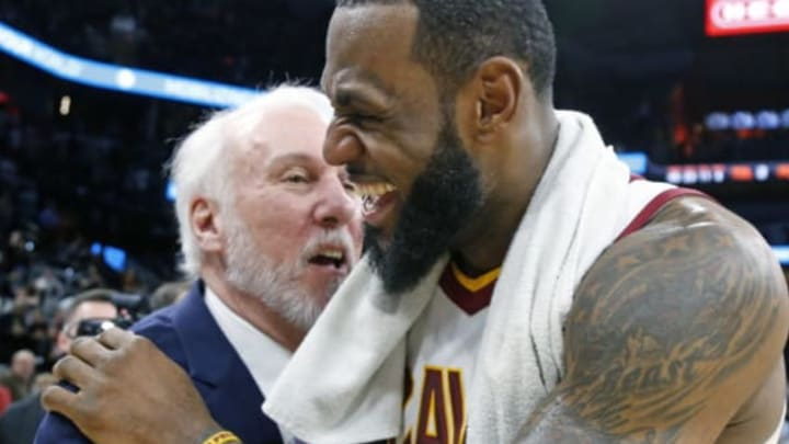 SAN ANTONIO,TX – JANUARY 23 : LeBron James #23 of the Cleveland Cavaliers is congratulated by Gregg Popovich head coach of the San Antonio Spurs at the end of the game at AT&T Center on January 23, 2018 in San Antonio, Texas. NOTE TO USER: User expressly acknowledges and agrees that , by downloading and or using this photograph, User is consenting to the terms and conditions of the Getty Images License Agreement. (Photo by Ronald Cortes/Getty Images)