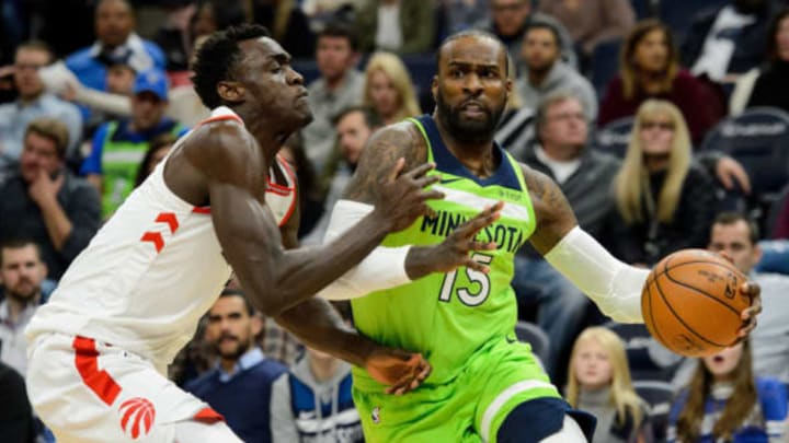 MINNEAPOLIS, MN – JANUARY 20: Shabazz Muhammad #15 of the Minnesota Timberwolves drives to the basket against OG Anunoby #3 of the Toronto Raptors during the game on January 20, 2018 at the Target Center in Minneapolis, Minnesota. NOTE TO USER: User expressly acknowledges and agrees that, by downloading and or using this Photograph, user is consenting to the terms and conditions of the Getty Images License Agreement. (Photo by Hannah Foslien/Getty Images)