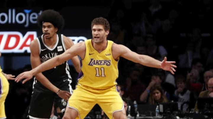 NEW YORK, NY – FEBRUARY 2: Brook Lopez #11 of the Los Angeles Lakers calls for a pass in an NBA basketball game against his old team the Brooklyn Nets on February 2, 2018 at Barclays Center in the Brooklyn borough of New York City. Lakers won 102-99. NOTE TO USER: User expressly acknowledges and agrees that, by downloading and/or using this Photograph, user is consenting to the terms and conditions of the Getty License agreement. Mandatory Copyright Notice (Photo by Paul Bereswill/Getty Images)