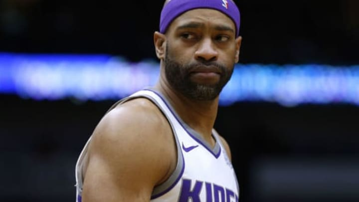 NEW ORLEANS, LA – JANUARY 30: Vince Carter #15 of the Sacramento Kings reacts during the first half against the New Orleans Pelicans at the Smoothie King Center on January 30, 2018 in New Orleans, Louisiana. NOTE TO USER: User expressly acknowledges and agrees that, by downloading and or using this photograph, User is consenting to the terms and conditions of the Getty Images License Agreement. (Photo by Jonathan Bachman/Getty Images)