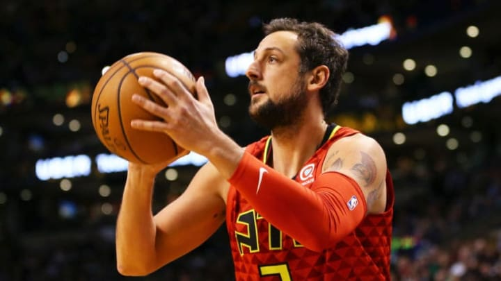 BOSTON, MA - FEBRUARY 02: Marco Belinelli #3 of the Atlanta Hawks shoots during a game against the Boston Celtics at TD Garden on February 2, 2018 in Boston, Massachusetts. NOTE TO USER: User expressly acknowledges and agrees that, by downloading and or using this photograph, User is consenting to the terms and conditions of the Getty Images License Agreement. (Photo by Adam Glanzman/Getty Images)