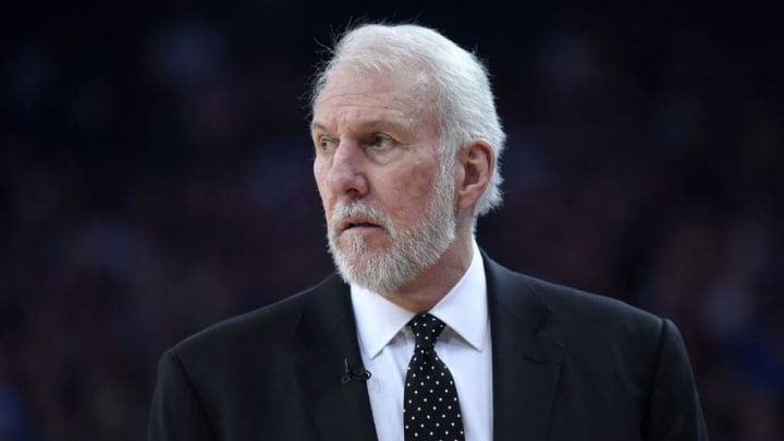 OAKLAND, CA - FEBRUARY 10: Head coach Gregg Popovich of the San Antonio Spurs looks on against the Golden State Warriors during an NBA basketball game at ORACLE Arena on February 10, 2018 in Oakland, California. NOTE TO USER: User expressly acknowledges and agrees that, by downloading and or using this photograph, User is consenting to the terms and conditions of the Getty Images License Agreement. (Photo by Thearon W. Henderson/Getty Images)