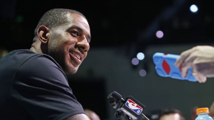 LOS ANGELES, CA - FEBRUARY 17: LaMarcus Aldridge #12 of the San Antonio Spurs talks to the media during NBA All-Star Media Day as part of 2018 NBA All-Star Weekend at the Los Angeles Convention Center on February 17, 2018 in Los Angeles, California. NOTE TO USER: User expressly acknowledges and agrees that, by downloading and/or using this photograph, user is consenting to the terms and conditions of the Getty Images License Agreement. Mandatory Copyright Notice: Copyright 2018 NBAE (Photo by Michelle Farsi/NBAE via Getty Images)