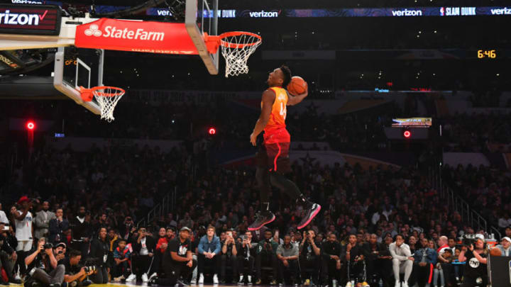 LOS ANGELES, CA - FEBRUARY 17: Donovan Mitchell #45 of the Utah Jazz dunks the ball during the Verizon Slam Dunk Contest during State Farm All-Star Saturday Night as part of the 2018 NBA All-Star Weekend on February 17, 2018 at STAPLES Center in Los Angeles, California. NOTE TO USER: User expressly acknowledges and agrees that, by downloading and/or using this photograph, user is consenting to the terms and conditions of the Getty Images License Agreement. Mandatory Copyright Notice: Copyright 2018 NBAE (Photo by Jesse D. Garrabrant/NBAE via Getty Images)