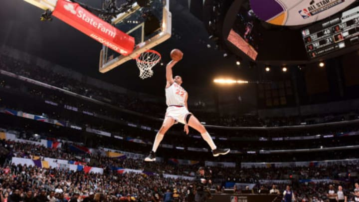 LOS ANGELES, CA – FEBRUARY 17: Larry Nance Jr. #24 of the Cleveland Cavaliers dunks the ball during the Verizon Slam Dunk Contest during State Farm All-Star Saturday Night as part of the 2018 NBA All-Star Weekend on February 17, 2018 at STAPLES Center in Los Angeles, California. NOTE TO USER: User expressly acknowledges and agrees that, by downloading and/or using this photograph, user is consenting to the terms and conditions of the Getty Images License Agreement. Mandatory Copyright Notice: Copyright 2018 NBAE (Photo by Andrew D. Bernstein/NBAE via Getty Images)