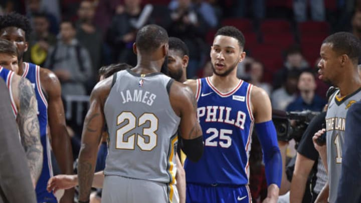 CLEVELAND, OH – MARCH 1: Ben Simmons #25 of the Philadelphia 76ers and LeBron James #23 of the Cleveland Cavaliers talk after the game on March 1, 2018 at Quicken Loans Arena in Cleveland, Ohio. NOTE TO USER: User expressly acknowledges and agrees that, by downloading and/or using this Photograph, user is consenting to the terms and conditions of the Getty Images License Agreement. Mandatory Copyright Notice: Copyright 2018 NBAE (Photo by David Liam Kyle/NBAE via Getty Images)