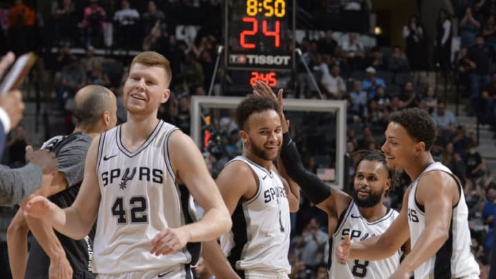 SAN ANTONIO, TX - MARCH 5: San Antonio Spurs react during the game against the Memphis Grizzlies on March 5, 2018 at the AT&T Center in San Antonio, Texas. NOTE TO USER: User expressly acknowledges and agrees that, by downloading and or using this photograph, user is consenting to the terms and conditions of the Getty Images License Agreement. Mandatory Copyright Notice: Copyright 2018 NBAE (Photos by Mark Sobhani/NBAE via Getty Images)