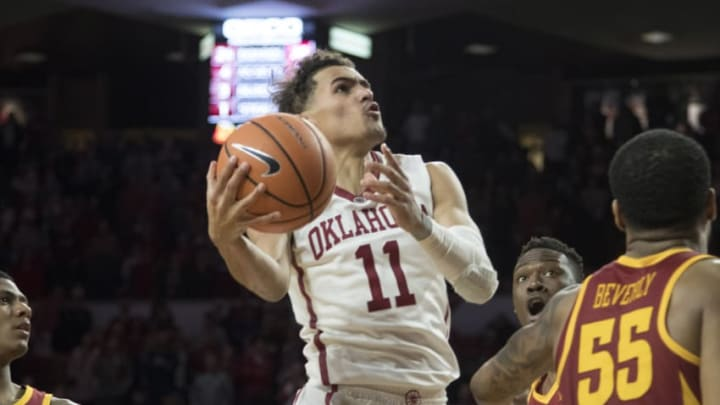 NORMAN, OK - MARCH 2: Trae Young #11 of the Oklahoma Sooners shoots against Iowa State during the second half of a NCAA college basketball game at the Lloyd Noble Center on March 2, 2018 in Norman, Oklahoma. (Photo by J Pat Carter/Getty Images)