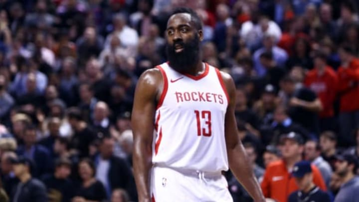 TORONTO, ON – MARCH 9: James Harden #13 of the Houston Rockets reacts during the second half of an NBA game against the Toronto Raptors at Air Canada Centre on March 9, 2018 in Toronto, Canada. NOTE TO USER: User expressly acknowledges and agrees that, by downloading and or using this photograph, User is consenting to the terms and conditions of the Getty Images License Agreement. (Photo by Vaughn Ridley/Getty Images)