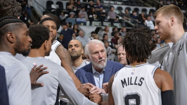SAN ANTONIO, TX - MARCH 13: Head coach Gregg Popovich of the San Antonio Spurs coaches during the game against the Orlando Magic on March 13, 2018 at the AT&T Center in San Antonio, Texas. NOTE TO USER: User expressly acknowledges and agrees that, by downloading and or using this photograph, user is consenting to the terms and conditions of the Getty Images License Agreement. Mandatory Copyright Notice: Copyright 2018 NBAE (Photos by Mark Sobhani/NBAE via Getty Images)
