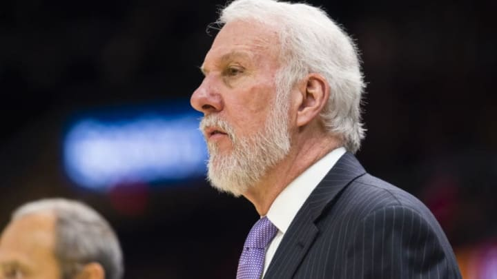 CLEVELAND, OH - FEBRUARY 25: Gregg Popovich of the San Antonio Spurs watches his players during the first half against the Cleveland Cavaliers at Quicken Loans Arena on February 25, 2018 in Cleveland, Ohio. NOTE TO USER: User expressly acknowledges and agrees that, by downloading and or using this photograph, User is consenting to the terms and conditions of the Getty Images License Agreement. (Photo by Jason Miller/Getty Images)