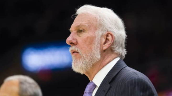 CLEVELAND, OH – FEBRUARY 25: Gregg Popovich of the San Antonio Spurs watches his players during the first half against the Cleveland Cavaliers at Quicken Loans Arena on February 25, 2018 in Cleveland, Ohio. NOTE TO USER: User expressly acknowledges and agrees that, by downloading and or using this photograph, User is consenting to the terms and conditions of the Getty Images License Agreement. (Photo by Jason Miller/Getty Images)