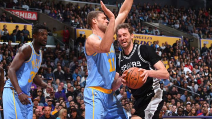 LOS ANGELES, CA – APRIL 4: Pau Gasol #16 of the San Antonio Spurs handles the ball against Brook Lopez #11 of the Los Angeles Lakers on April 4, 2018 at STAPLES Center in Los Angeles, California. NOTE TO USER: User expressly acknowledges and agrees that, by downloading and/or using this Photograph, user is consenting to the terms and conditions of the Getty Images License Agreement. Mandatory Copyright Notice: Copyright 2018 NBAE (Photo by Andrew D. Bernstein/NBAE via Getty Images)