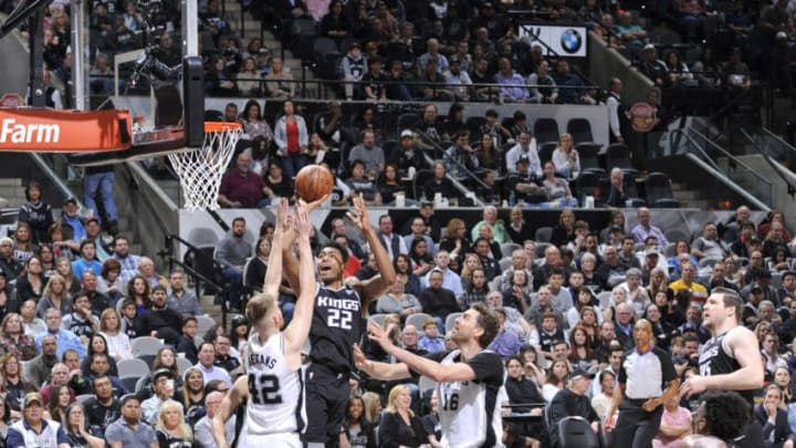 SAN ANTONIO, TX - APRIL 9: Rudy Gay #22 of the San Antonio Spurs dunks against the San Antonio Spurs on April 9, 2018 at the AT&T Center in San Antonio, Texas. NOTE TO USER: User expressly acknowledges and agrees that, by downloading and or using this photograph, user is consenting to the terms and conditions of the Getty Images License Agreement. Mandatory Copyright Notice: Copyright 2018 NBAE (Photos by Mark Sobhani/NBAE via Getty Images)