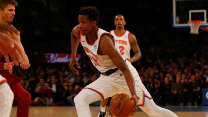 NEW YORK, NY – APRIL 09: (NEW YORK DAILIES OUT) Frank Ntilikina #11 of the New York Knicks in action against the Cleveland Cavaliers at Madison Square Garden on April 9, 2018 in New York City. The Cavaliers defeated the Knicks 123-109. NOTE TO USER: User expressly acknowledges and agrees that, by downloading and/or using this Photograph, user is consenting to the terms and conditions of the Getty Images License Agreement. (Photo by Jim McIsaac/Getty Images)
