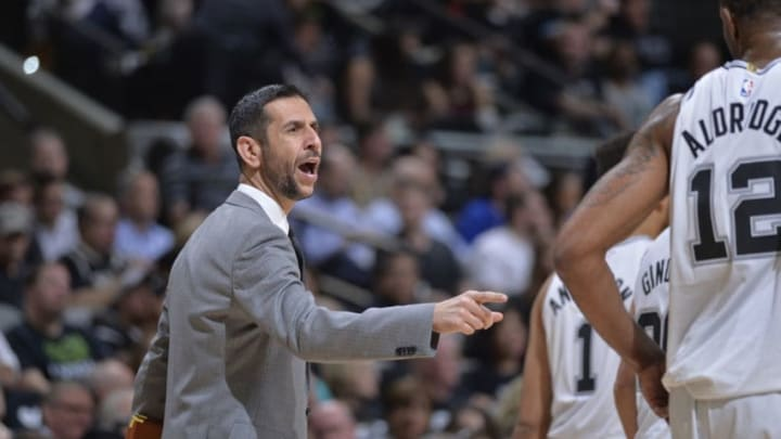 SAN ANTONIO, TX - APRIL 19: Assistant Coach James Borrego of the San Antonio Spurs during Game Three of the Western Conference Quarterfinals against the Golden State Warriors in the 2018 NBA Playoffs on April 19, 2018 at the AT&T Center in San Antonio, Texas. NOTE TO USER: User expressly acknowledges and agrees that, by downloading and/or using this photograph, user is consenting to the terms and conditions of the Getty Images License Agreement. Mandatory Copyright Notice: Copyright 2018 NBAE (Photos by Mark Sobhani/NBAE via Getty Images)