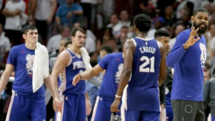 The Philadelphia 76ers celebrate a 106-102 win against the Miami Heat in Game 4 of the first-round NBA Playoff series at the AmericaneAirlines Arena in Miami on Saturday, April 21, 2018. The Sixers now hold a 3-1 series lead. (Pedro Portal/El Nuevo Herald/TNS via Getty Images)