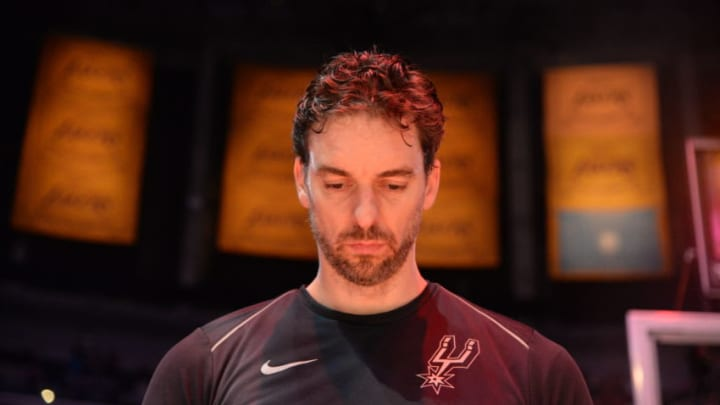 LOS ANGELES, CA - APRIL 4: Pau Gasol #16 of the San Antonio Spurs stand for the National Anthem (Photo by Andrew D. Bernstein/NBAE via Getty Images)