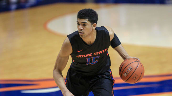 BOISE, ID - FEBRUARY 11: Guard Chandler Hutchison #15 of the Boise State Broncos dribbles up the court during first half action against the Air Force Falcons on February 11, 2017 at Taco Bell Arena in Boise, Idaho. (Photo by Loren Orr/Getty Images)