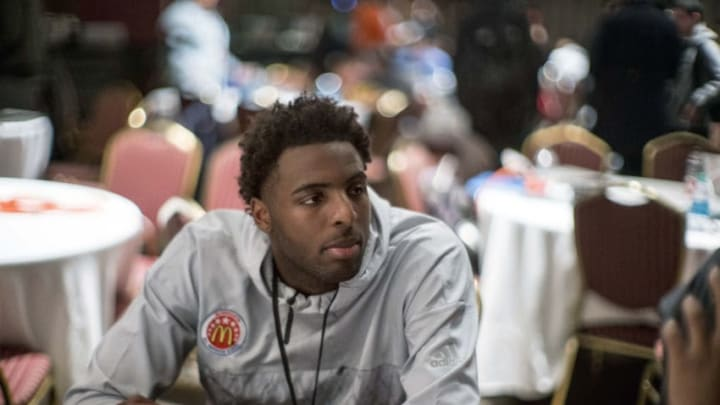 CHICAGO, IL - MARCH 28: McDonald's High School All-American center Mitchell Robinson (22) gives interviews to the media during the McDonald's All-American Games Media Day on March 28, 2017, at the United Center in Chicago, IL. (Photo by Robin Alam/Icon Sportswire via Getty Images)