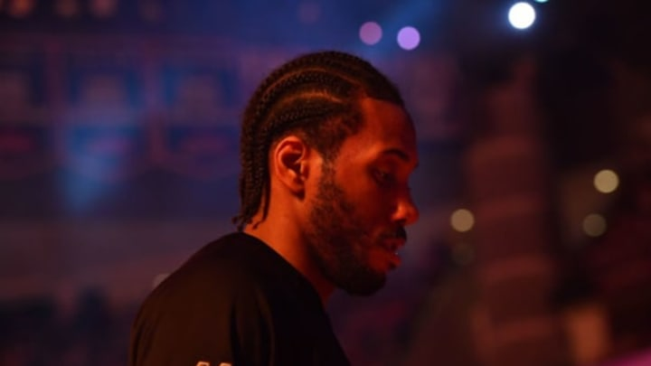 HOUSTON, TX – MAY 7: Kawhi Leonard #2 of the San Antonio Spurs stands for a moment of silence for the National Anthem before the game against the Houston Rockets during Game Four of the Western Conference Semifinals of the 2017 Playoffs on May 7, 2017 at the Toyota Center in Houston, Texas. NOTE TO USER: User expressly acknowledges and agrees that, by downloading and or using this photograph, User is consenting to the terms and conditions of the Getty Images License Agreement. Mandatory Copyright Notice: Copyright 2017 NBAE (Photo by Jesse D. Garrabrant/NBAE via Getty Images)