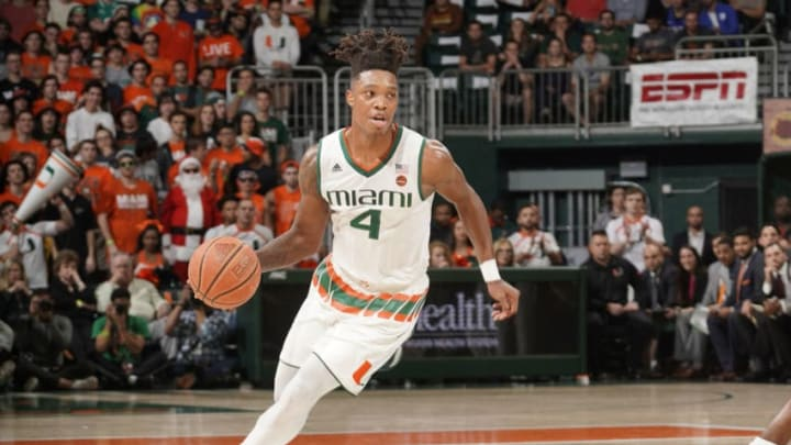 CORAL GABLES, FL - JANUARY 15: Miami guard Lonnie Walker IV (4) plays during a college basketball game between the Duke University Blue Devils and the University of Miami Hurricanes on January 15, 2018 at the Watsco Center, Coral Gables, Florida. Duke defeated Miami 83-75. (Photo by Richard C. Lewis/Icon Sportswire via Getty Images)