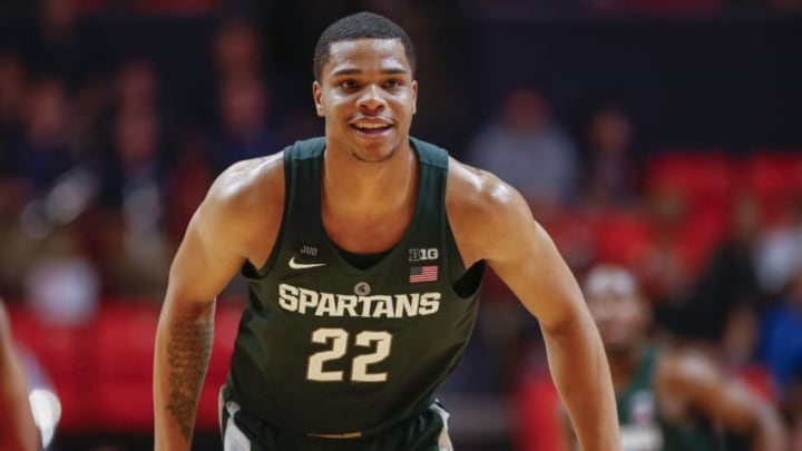 CHAMPAIGN, IL - JANUARY 22: Miles Bridges #22 of the Michigan State Spartans is seen during the game against the Illinois Fighting Illini at State Farm Center on January 22, 2018 in Champaign, Illinois. (Photo by Michael Hickey/Getty Images)