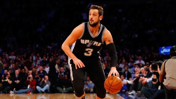 NEW YORK, NY - MARCH 17: (NEW YORK DAILIES OUT) Marco Belinelli #3 of the San Antonio Spurs in action against the New York Knicks at Madison Square Garden on March 17, 2015 in New York City. The Knicks defeated the Spurs 104-100 in overtime. NOTE TO USER: User expressly acknowledges and agrees that, by downloading and/or using this Photograph, user is consenting to the terms and conditions of the Getty Images License Agreement. (Photo by Jim McIsaac/Getty Images)