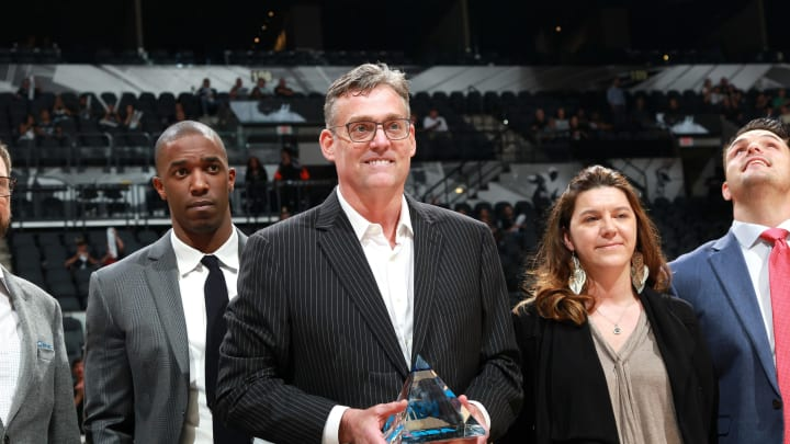 SAN ANTONIO, TX – MAY 10: R. C. Buford general manager of the San Antonio Spurs receives an excecutive of the year award before the game against the Oklahoma City Thunder in Game Five of the Western Conference Semifinals during the 2016 NBA Playoffs on May 10, 2016 at the AT&T Center in San Antonio, Texas. (Photos by Layne Murdoch/NBAE via Getty Images)
