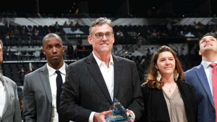 SAN ANTONIO, TX – MAY 10: R. C. Buford general manager of the San Antonio Spurs receives an excecutive of the year award before the game against the Oklahoma City Thunder in Game Five of the Western Conference Semifinals during the 2016 NBA Playoffs on May 10, 2016 at the AT&T Center in San Antonio, Texas. NOTE TO USER: User expressly acknowledges and agrees that, by downloading and or using this photograph, user is consenting to the terms and conditions of the Getty Images License Agreement. Mandatory Copyright Notice: Copyright 2016 NBAE (Photos by Layne Murdoch/NBAE via Getty Images)