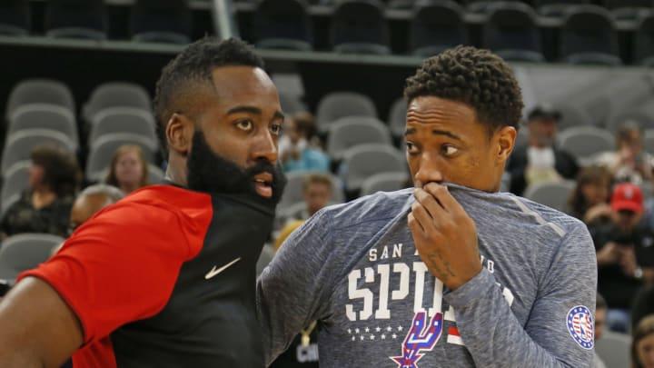San Antonio Spurs star, DeMar DeRozan James Harden (Photo by Ronald Cortes/Getty Images)
